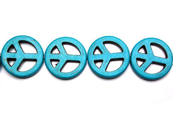 Howlite (Turquoise) Peace Sign Beads