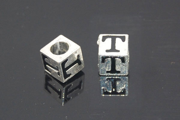 Metal Alloy Beads Square Letter (T) w/Black Enamel (Silver), 7x7mm