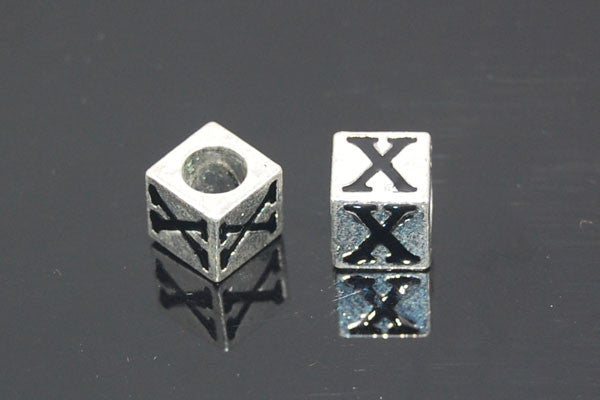 Metal Alloy Beads Square Letter (X) w/Black Enamel (Silver), 7x7mm