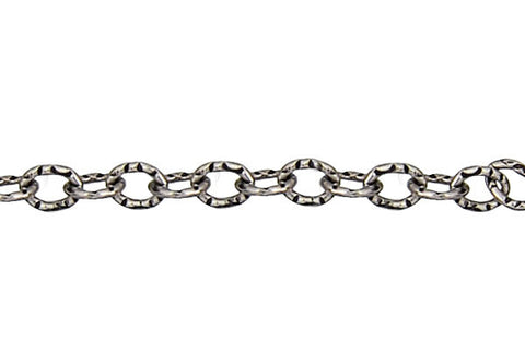 Sterling Silver Oxidized Textured Cable Chain, 5.0x7.0mm