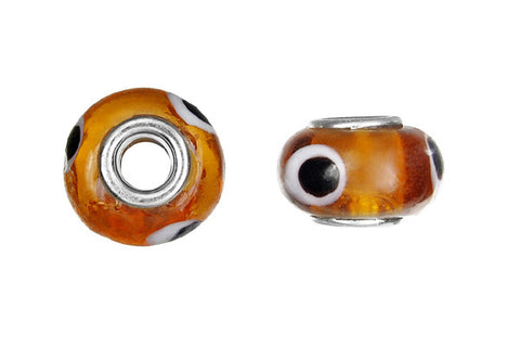 Lampwork Rondelle with Silver-Plated Core (Brown w/Black Dots), 10x15mm