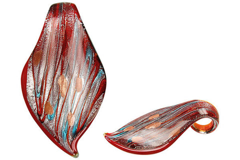 Pendant Murano Foil Glass Smooth Leaf (807)