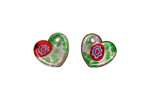 Murano Foil Glass Flat Heart Earrings (YHA04)