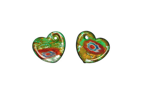 Murano Foil Glass Flat Heart Earrings (YHA02)