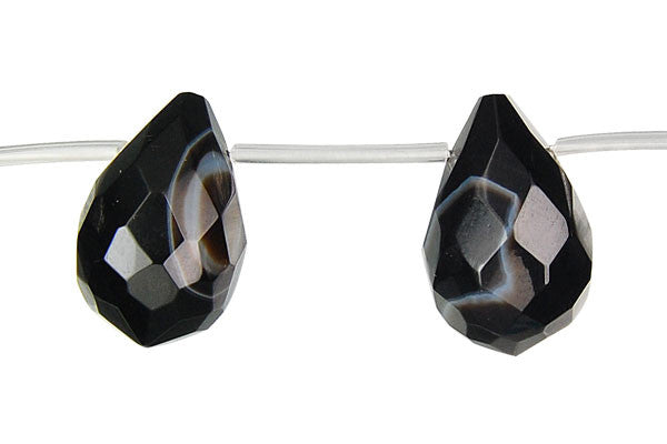 Sardonyx (Black) Faceted Briolette Beads