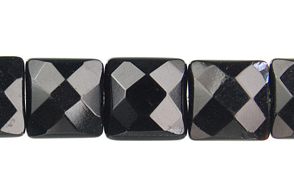 Black Onyx (AAA) Faceted Square Beads