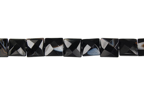 Sardonyx (Black) Faceted Square Beads
