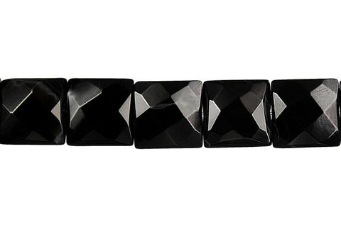 Black Onyx Faceted Square Beads