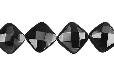 Black Onyx Faceted Diamond Square Beads