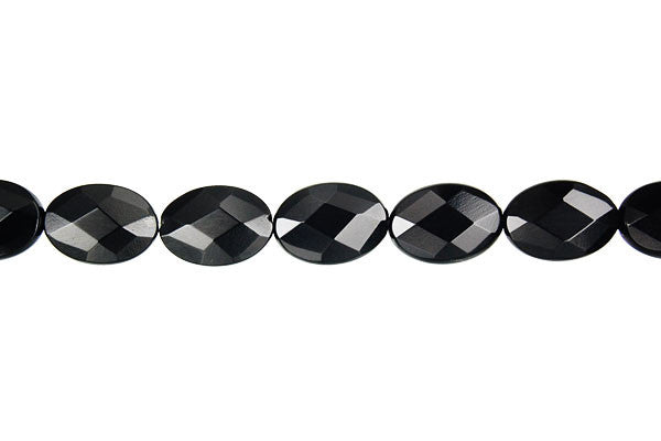 Black Onyx (AAA) Feceted Flat Oval Beads