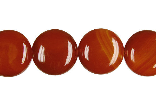 Red Agate Coin (Dark) Beads