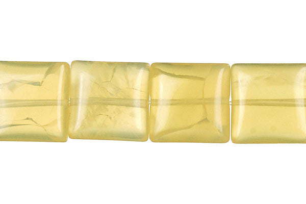 Yellow Opal Flat Square (Light A) Beads