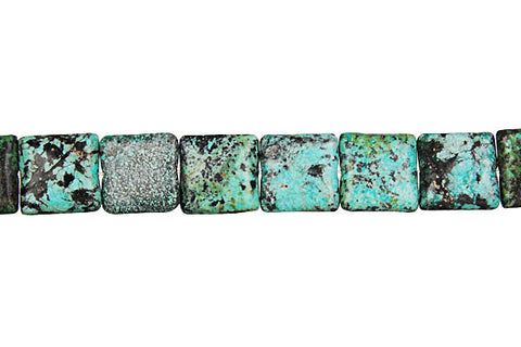 African Turquoise (Dark) Square Beads