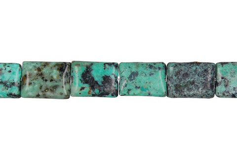 African Turquoise (Dark) Flat Rectangle (Light) Beads