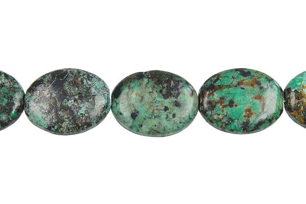 African Turquoise (Dark) Flat Oval Beads