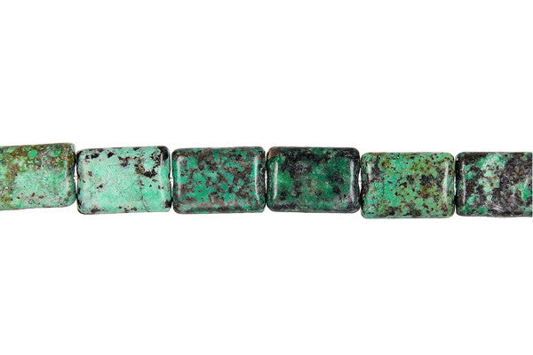 African Turquoise (Dark) Flat Rectangle Beads