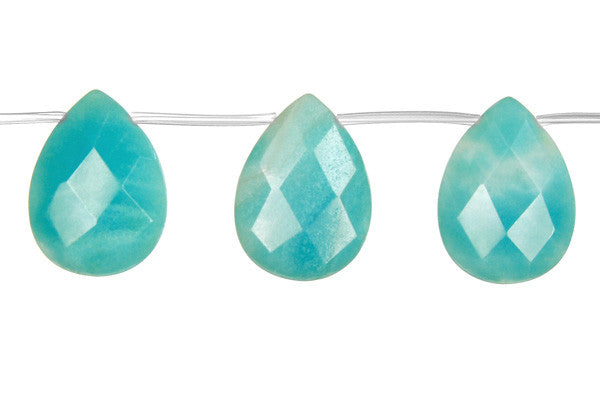 Amazonite Faceted Flat Briolette (Dark) Beads