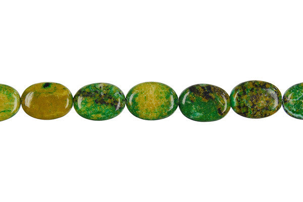 Yellow and Green Turquoise Flat Oval Beads