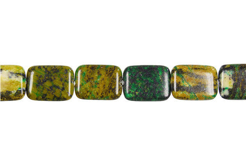 Yellow and Green Turquoise Flat Rectangle Beads