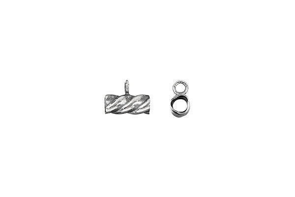 Sterling Silver Oxidized Tube w/Ring, 3.5x8.0mm