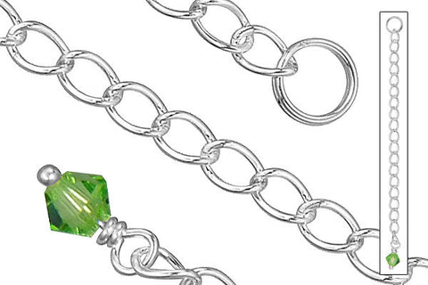 "Sterling Silver 2.50"" Extender w/4.0mm Peridot Bicone"