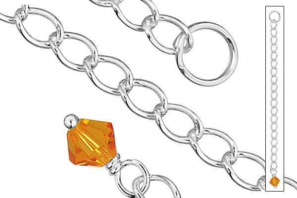 "Sterling Silver 2.50"" Extender w/4.0mm Citrine Bicone"