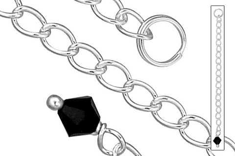 "Sterling Silver 2.50"" Extender w/4.0mm Black Onyx Bicone"