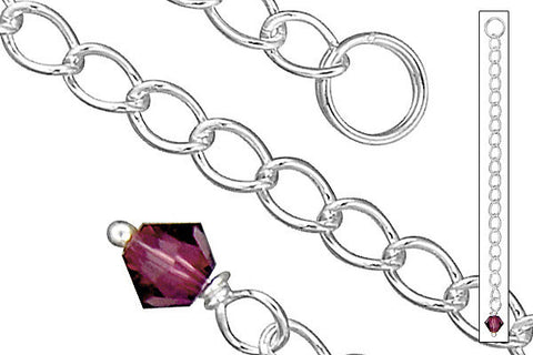 "Sterling Silver 2.50"" Extender w/4.0mm Amethyst Bicone"