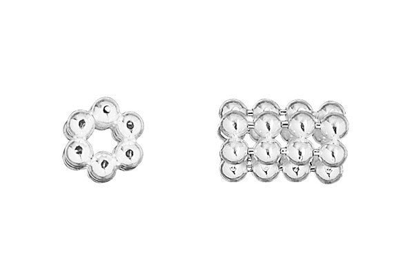 Sterling Silver Hexagon Quad Daisy Spacer, 4.0x6.0mm