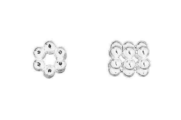 Sterling Silver Hexagon Triple Daisy Spacer, 4.0x4.5mm