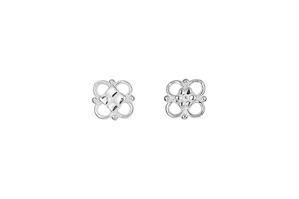 Sterling Silver 4-Ring Flower Fancy Spacer, 8.5x8.5mm