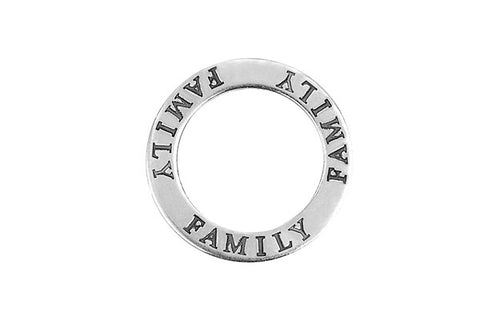 Sterling Silver Family Affirmation Band Charm, 22.0mm