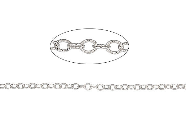 Sterling Silver Textured Cable Chain, 1.5x2.0mm