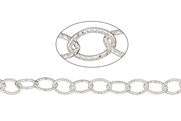 Sterling Silver Textured Cable Chain, 4.6x6.5mm