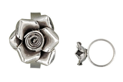 Hill Tribe Silver Rose Ring, 20x25mm, Size 9