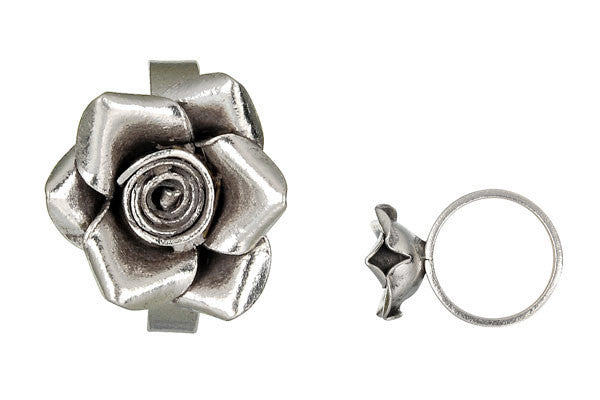 Hill Tribe Silver Rose Ring, 20x25mm, Size 8