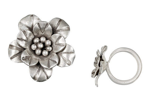 Hill Tribe Silver Flower Ring, 25X30mm, Size 7