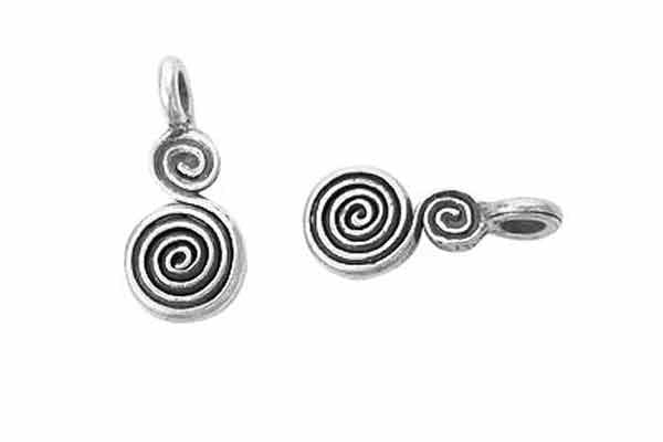 Hill Tribe Silver Swirl Pendant Charm, 7.0x11.0mm