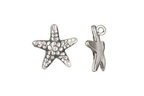 Hill Tribe Silver Starfish Pendant Charm, 20.0mm