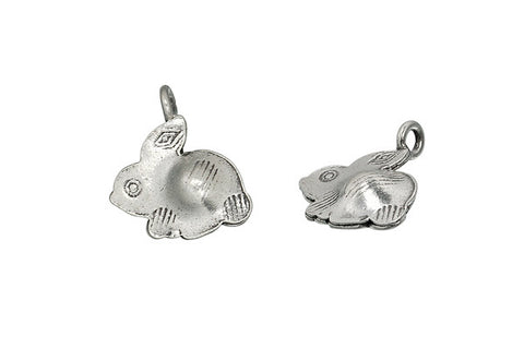 Hill Tribe Silver Rabbit Pendant Charm, 13.0x12.0mm