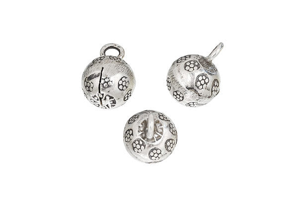 Hill Tribe Silver Printed Flower Bell Pendant Charm, 15.0mm