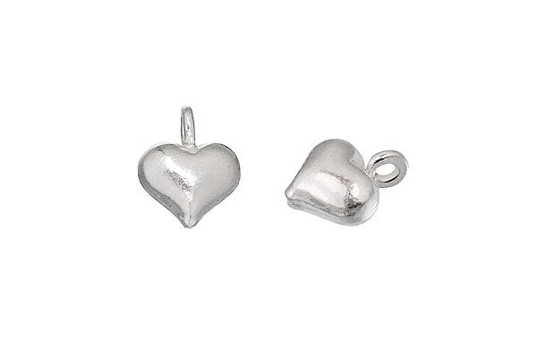 Hill Tribe Silver Puffy Heart Pendant Charm, 10.0x8.0mm