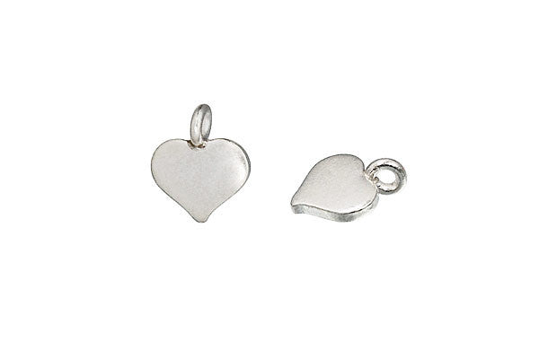 Hill Tribe Silver Heart Pendant Charm, 10.0x8.0mm