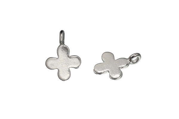 Hill Tribe Silver Cross Leaf Pendant Charm, 10.0x10.0mm