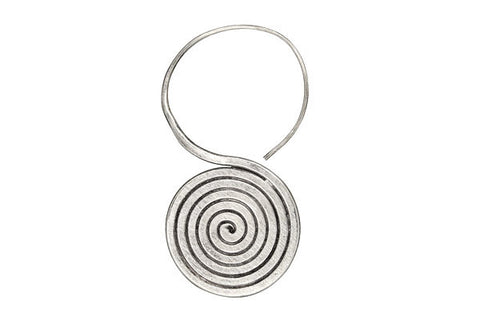 Hill Tribe Silver Flat Swirl Earrings, 22.0x45.0mm