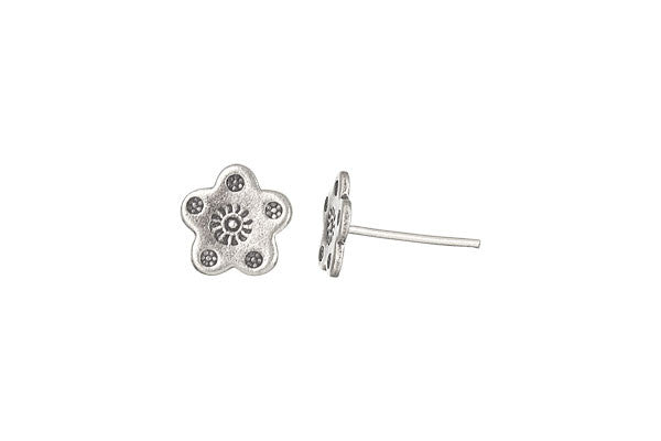 Hill Tribe Silver Printed Flower Earrings, 10.0x10.0mm