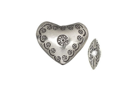Hill Tribe Silver Printed Heart, 15.0x20.0mm