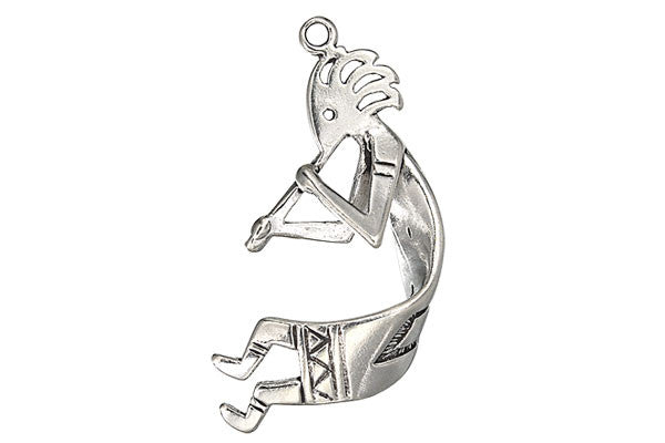 Sterling Silver Kokopeli Curled Religious Charm, 16.0x35.0mm