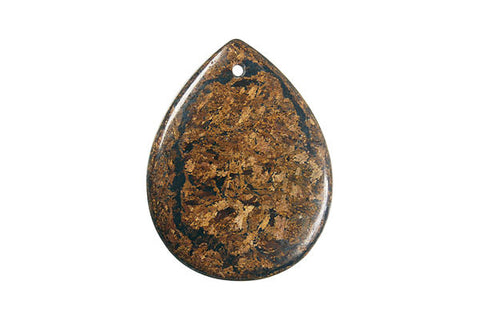 Pendant Bronzite Flat Briolette (Front Drilled)