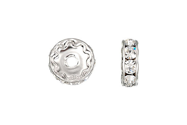 Sterling Silver Rondelle Spacer w/Crystal, 10.0mm